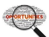 magnified illustration with the words opportunities circumstances fortune job break occasion work business chance choice hope luck on white background