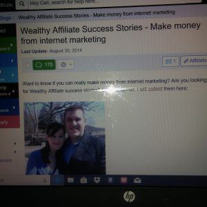 Screen shot of wealth affiliate success stories - Make money from internet marketing Husband and wife in the picture