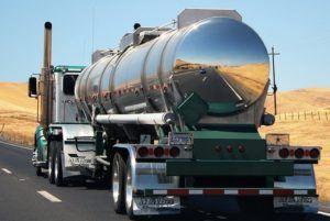 tanker truck driving in the desert