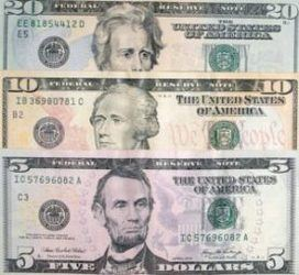 US Paper Money 3 of 7 paper currency $5 $10 $20 denominations