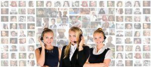Three Ladies working call center headset