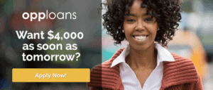 Opploans Want $4,000 as soon as tomorrow? Apply Now! Lady smiling wearing a white shirt and rust color sweater
