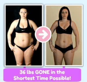 36 lbs gone in the shortest time possible! Lady in Bikini Before and After Photo